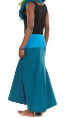 Jupe longue évasée bleue en coton léger pour l'été Vinola 305582