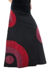 Jupe longue évasée ethnique aux imprimés psychédélique noir et rouge Loupia 303242