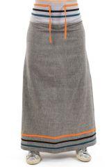 Jupe longue évasée ethnique tendance et uni grise Chica 304141