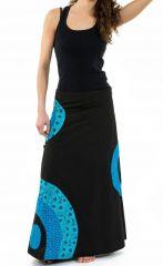 Jupe longue évasée originale noire et bleue en coton Jamila 305517