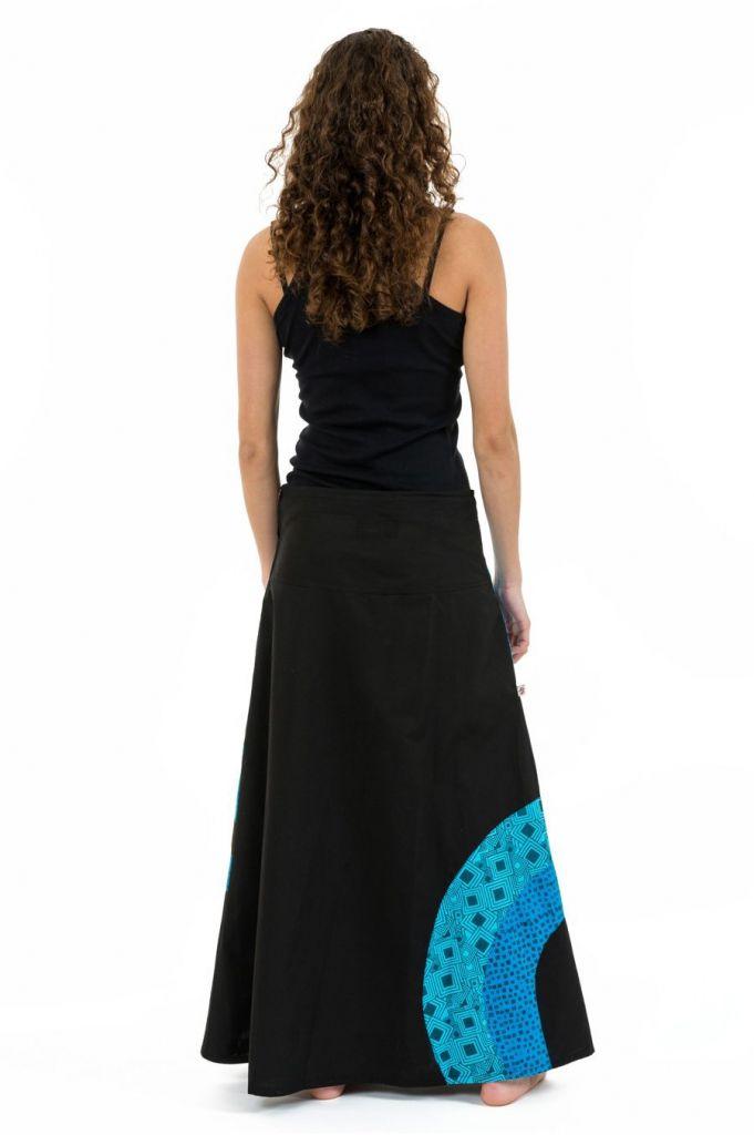 Jupe longue évasée originale noire et bleue en coton Jamila 305518