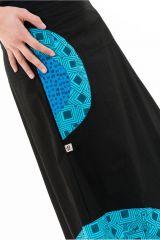 Jupe longue évasée originale noire et bleue en coton Jamila 305519