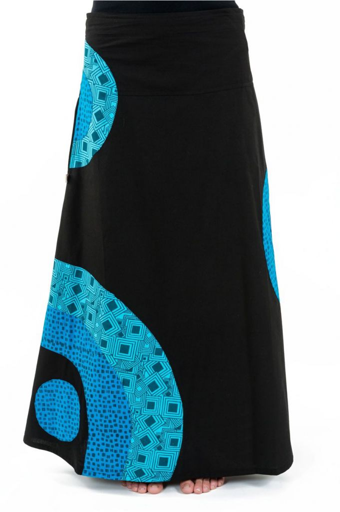 Jupe longue évasée originale noire et bleue en coton Jamila 305520