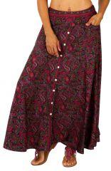 Jupe longue féminine avec son imprimé ethnique et coloré Lina