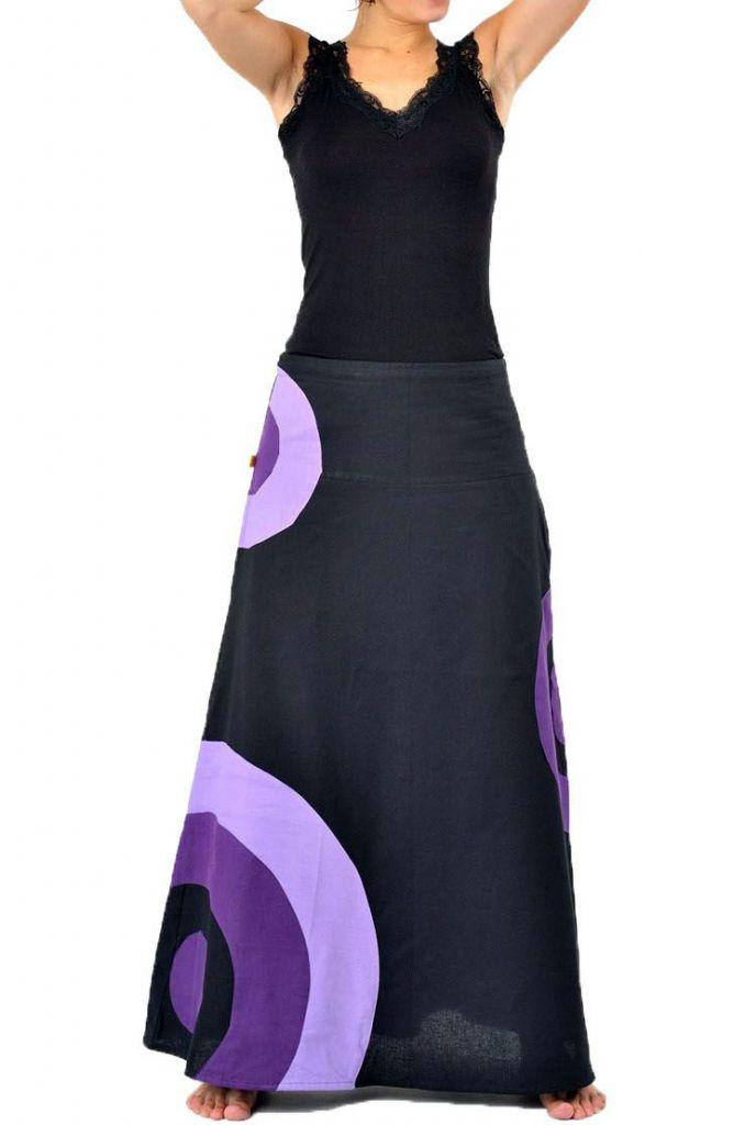 Jupe longue femme noir et violet en coton 305463