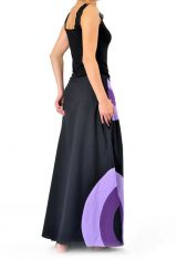 Jupe longue femme noir et violet en coton 305464