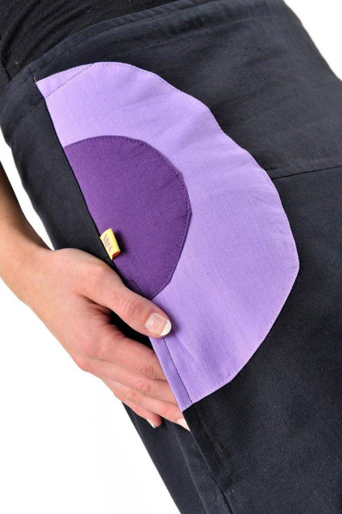 Jupe longue femme noir et violet en coton 305465