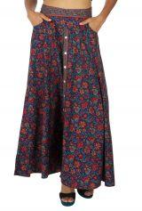 Jupe longue femme pour l'été fleurie bleue et gypsie Brenda 316105