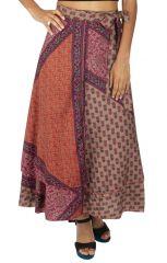 Jupe longue femme style bohème avec un camaïeu de rose Tracia