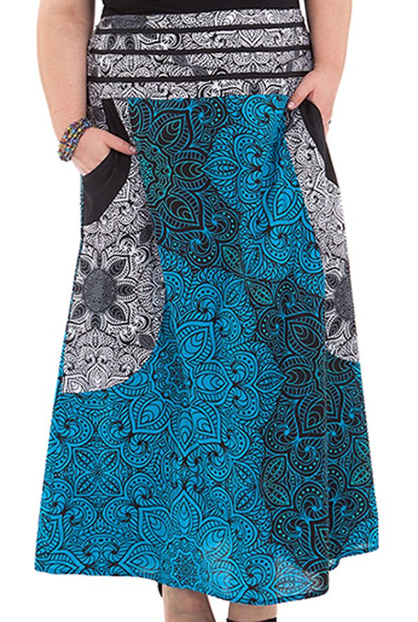 jupe longue grande taille et originale bleue noum a. Black Bedroom Furniture Sets. Home Design Ideas