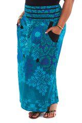 Jupe longue grande taille imprimée de couleur bleue Wallis 282117