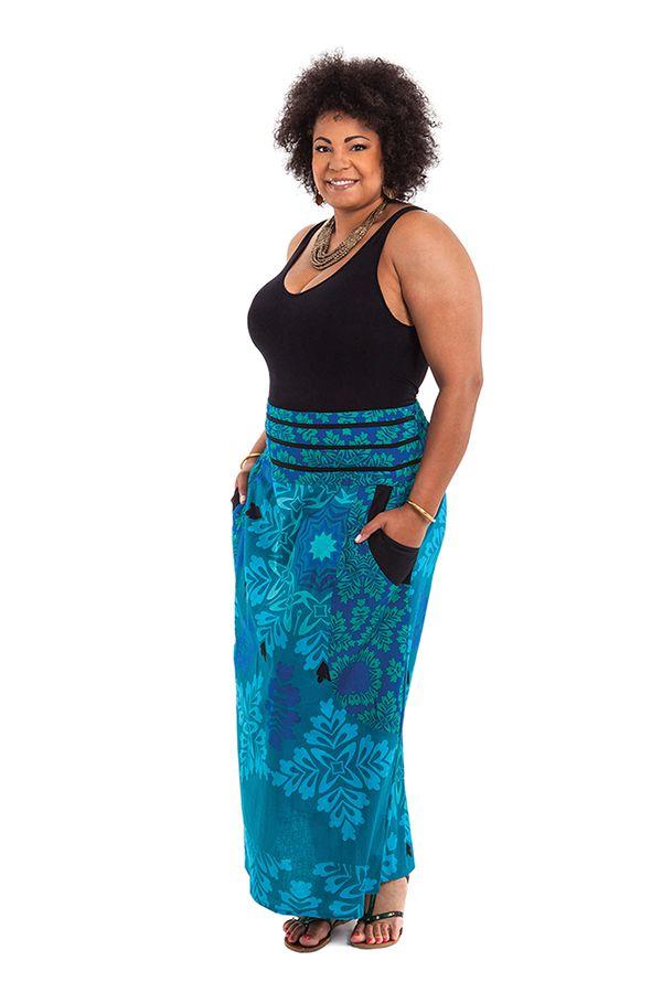 jupe longue grande taille imprim e de couleur bleue wallis. Black Bedroom Furniture Sets. Home Design Ideas
