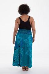 Jupe longue grande taille imprimée de couleur bleue Wallis 282119