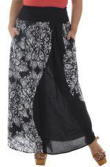 Jupe longue grande taille noire et blanche en coton Justine 291962