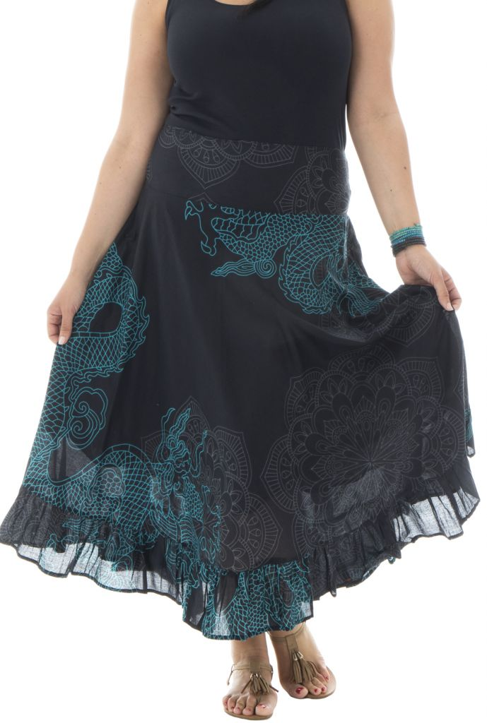 jupe longue grande taille noire originale pour l 39 t ashley. Black Bedroom Furniture Sets. Home Design Ideas
