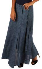 Jupe longue grise portefeuille look chic et décontracté Mila 305622