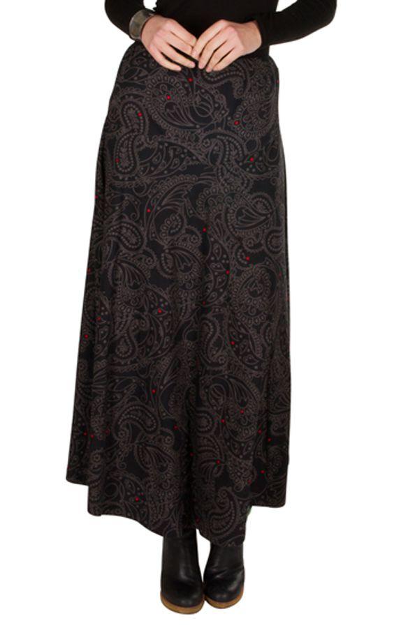 Jupe longue hivers Noire à motifs originaux et ethniques Sunna 298367.  Loading zoom f59d3ffe1c6e