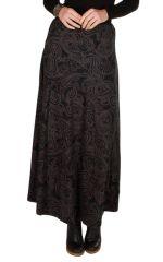 Jupe longue hivers Noire à motifs originaux et ethniques Sunna 298367