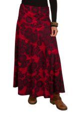 Jupe longue hivers Rouge imprimée originale et ethnique Nina 298375