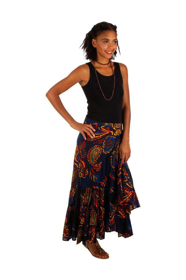 Jupe longue imprimée boho bohème look hippie-chic Goa