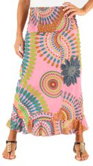 Jupe longue Imprimée et Colorée Rose Ludmila 285993