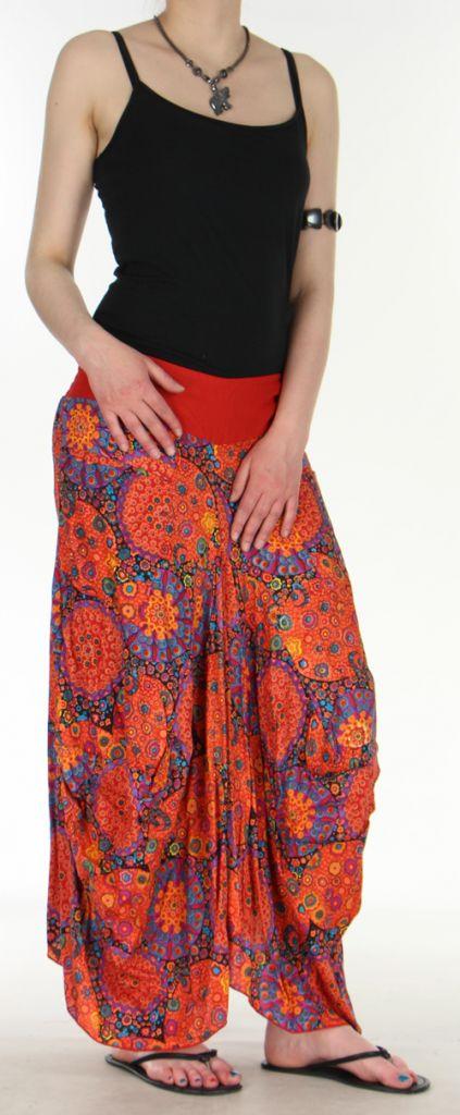 Jupe longue imprimée orange coupe bourgeon Emini 271211
