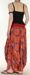 Jupe longue imprimée orange coupe bourgeon Emini