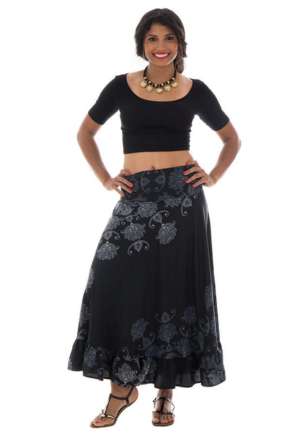 jupe longue légère avec motifs ethniques noire et blanche Alis 289233