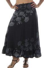 jupe longue légère avec motifs ethniques noire et blanche Alis 291868