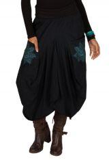 Jupe longue Noire ample avec poches et broderies Nina 301229