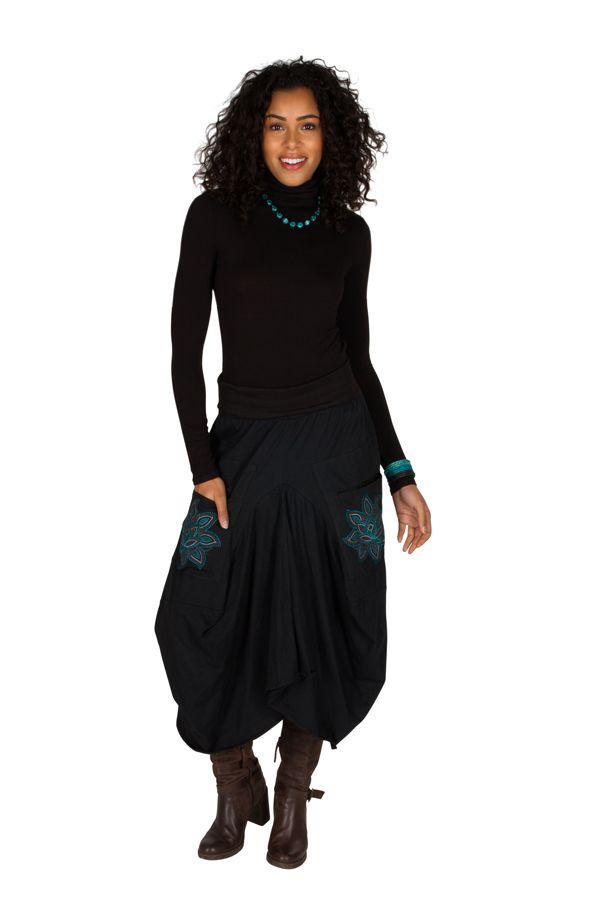 Jupe longue Noire ample avec poches et broderies Nina 301230