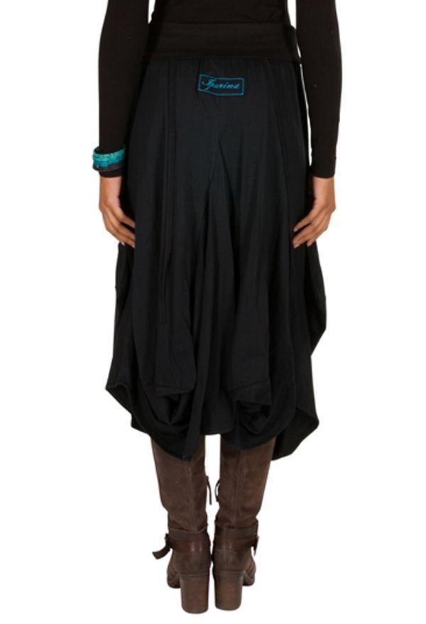 Jupe longue Noire ample avec poches et broderies Nina 301231
