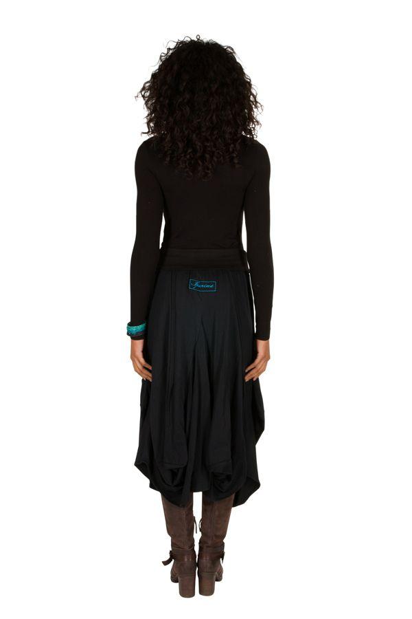 Jupe longue Noire ample avec poches et broderies Nina 301232