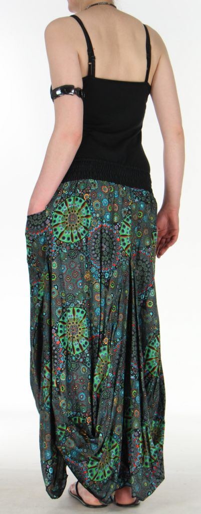 Jupe longue noire imprimée coupe bourgeon Emini