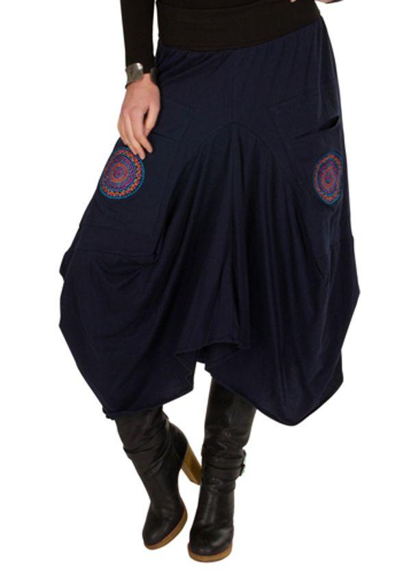 Jupe longue originale Bleue marine et brodée tendance Gladisse 301217