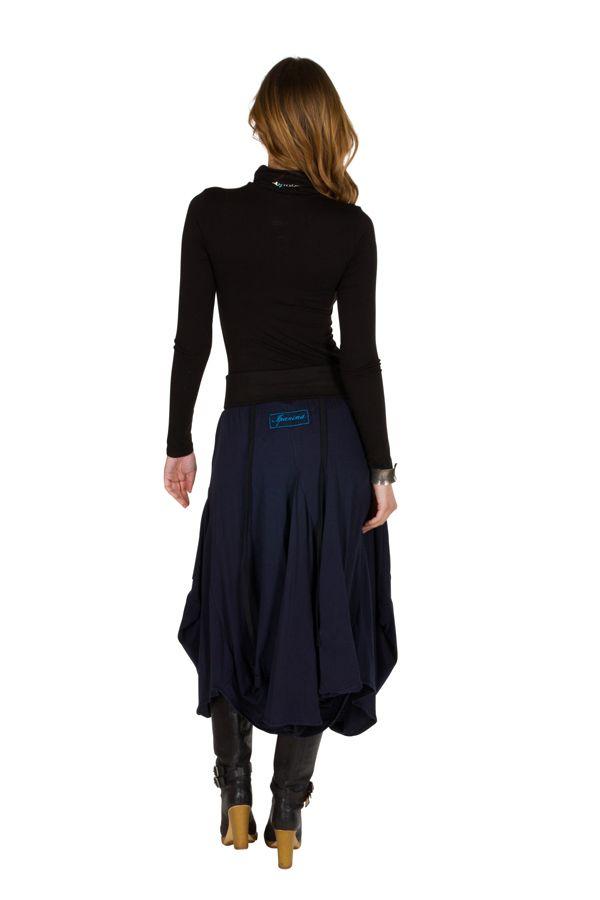 Jupe longue originale Bleue marine et brodée tendance Gladisse 301220