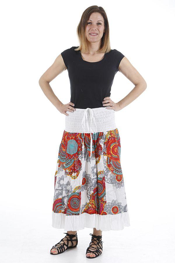 Jupe longue originale colorée et imprimée paisleys Bianca 310667