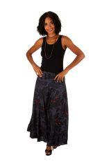 Jupe longue originale noire et grise motif floral Mindy