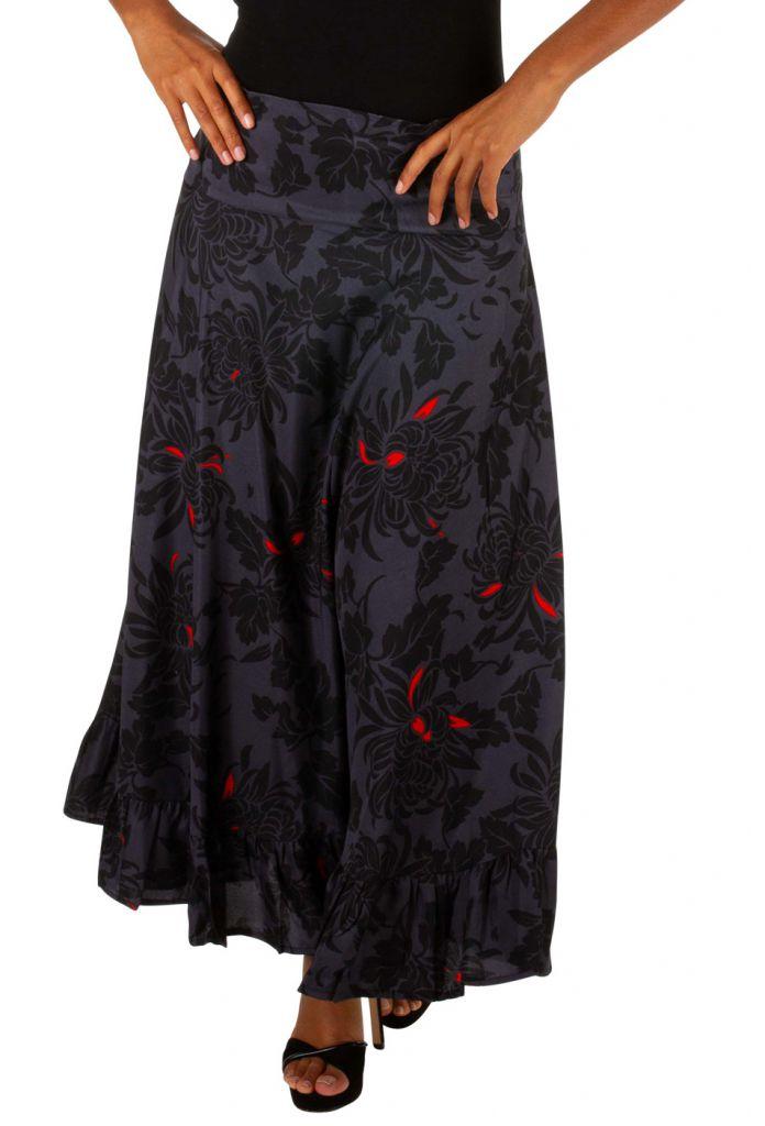 Jupe longue originale noire et grise motif floral Mindy 309117