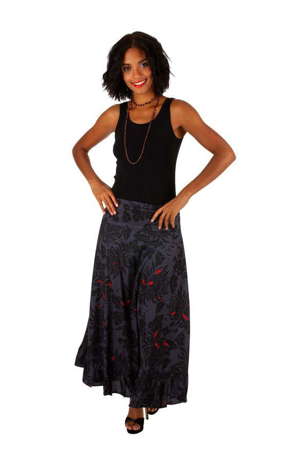 Jupe longue originale noire et grise motif floral Mindy 309118