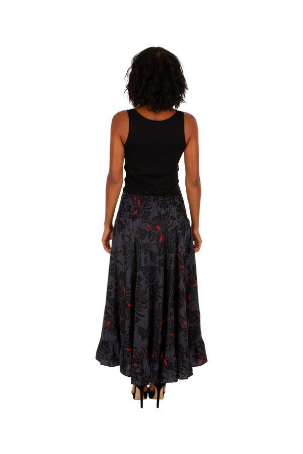 Jupe longue originale noire et grise motif floral Mindy 309119