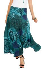 Jupe longue originale turquoise look ethnique tendance Edy 309141