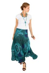 Jupe longue originale turquoise look ethnique tendance Edy 309142