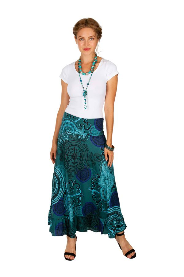 Jupe longue originale turquoise look ethnique tendance Edy 309143
