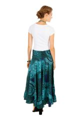 Jupe longue originale turquoise look ethnique tendance Edy 309144