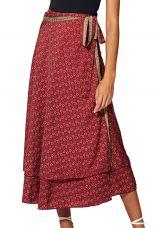 Jupe longue portefeuille rouge femme imprimé fleurs Erena
