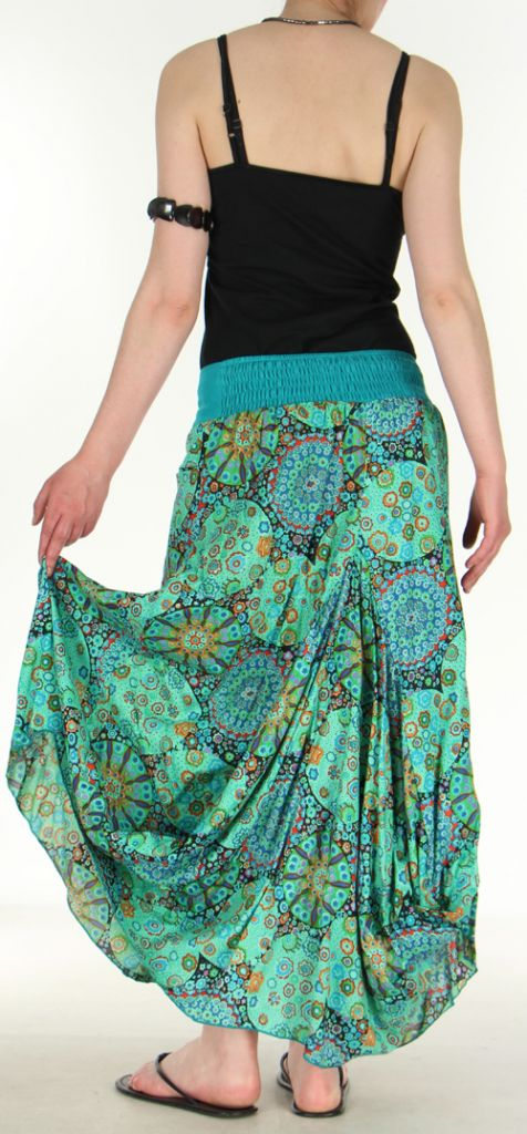 Jupe longue turquoise imprimée coupe bourgeon Emini 271214