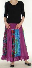 Jupe longue violette ethnique transformable 2en1 Elise 271149