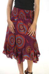 jupe mauve asymétrique coupe midi a godets avec imprimés Célie 291307