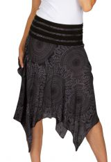 Jupe mi-longue asymétrique avec un imprimé mandala gris et noir Lucia 305598